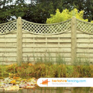 Concave Lattice Top Fence Panel (3) 90cm H x 180cm W brown