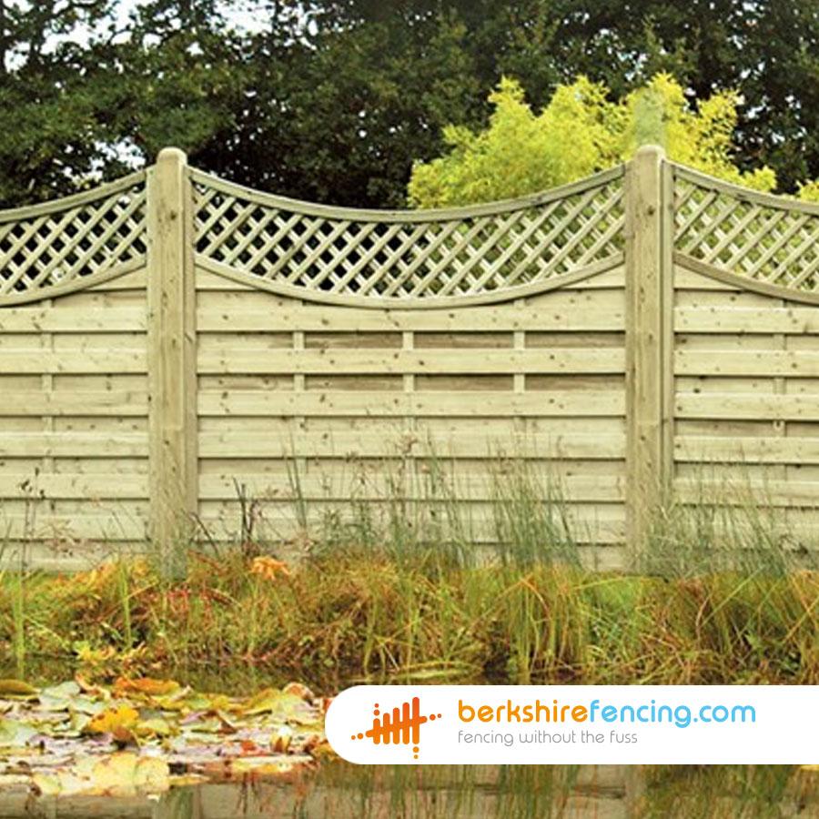 Concave Lattice Top Fence Panels 4ft X 6ft Natural