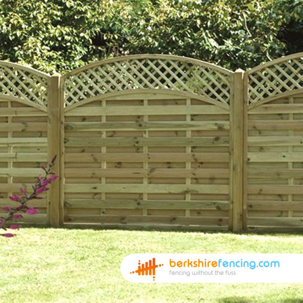 brown Convex Arched Lattice Top Fence Panel 3ft x 6ft