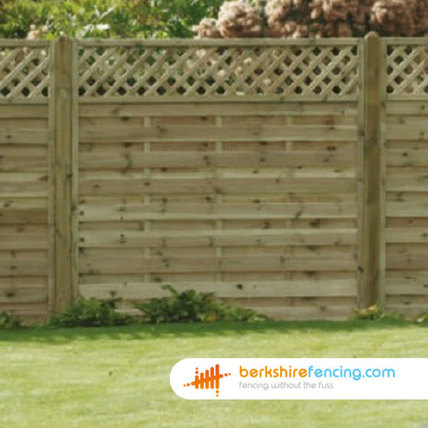 brown Horizontal Lattice Top Fence Panel 3ft x 6ft