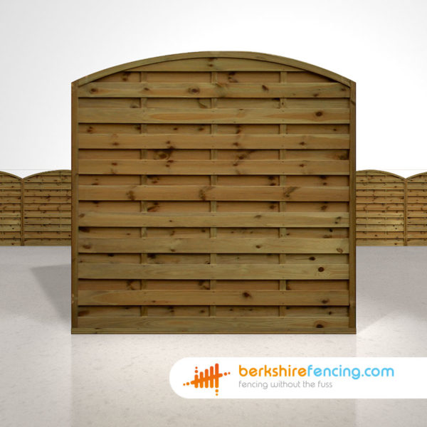 Arched Horizontal Fence Panels 6ft x 6ft Brown