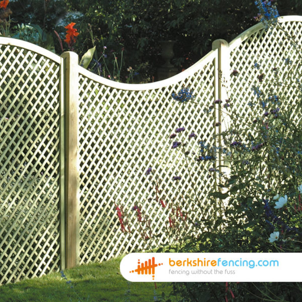 Concave Diamond Trellis Fence Panels 3ft X 6ft Natural