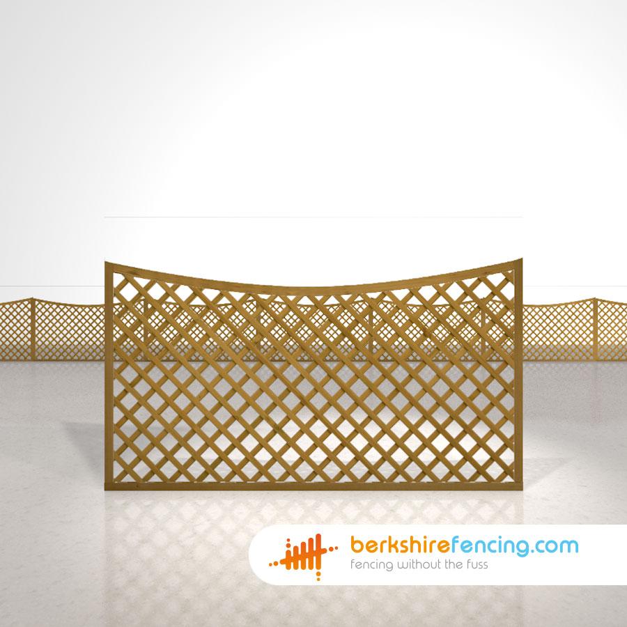 Concave Diamond Trellis Fence Panels 3ft X 6ft Brown