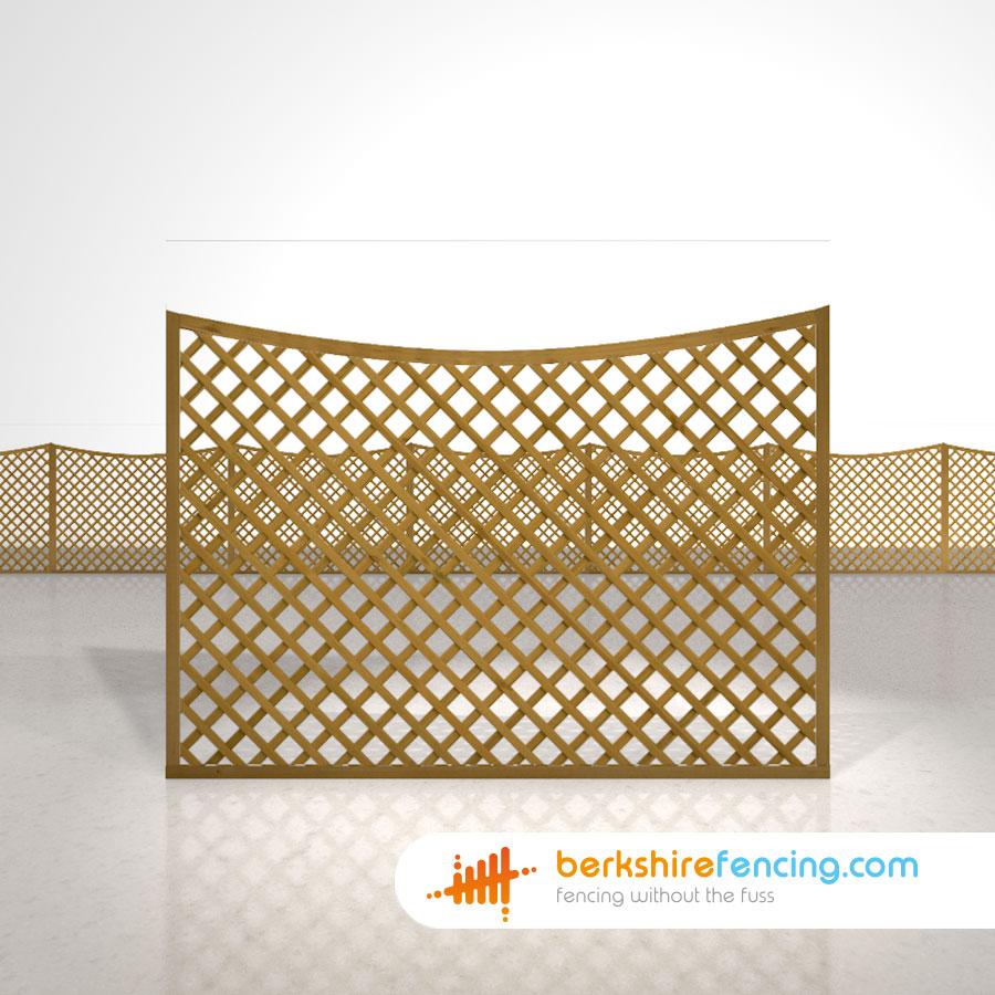 Concave Diamond Trellis Fence Panels 4ft x 6ft brown Berkshire Fencing