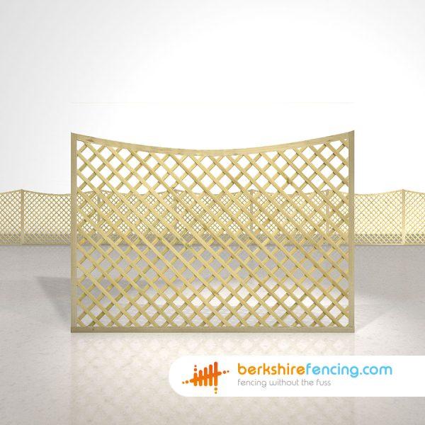 Garden Concave Diamond Trellis Fence Panels 4ft x 6ft natural