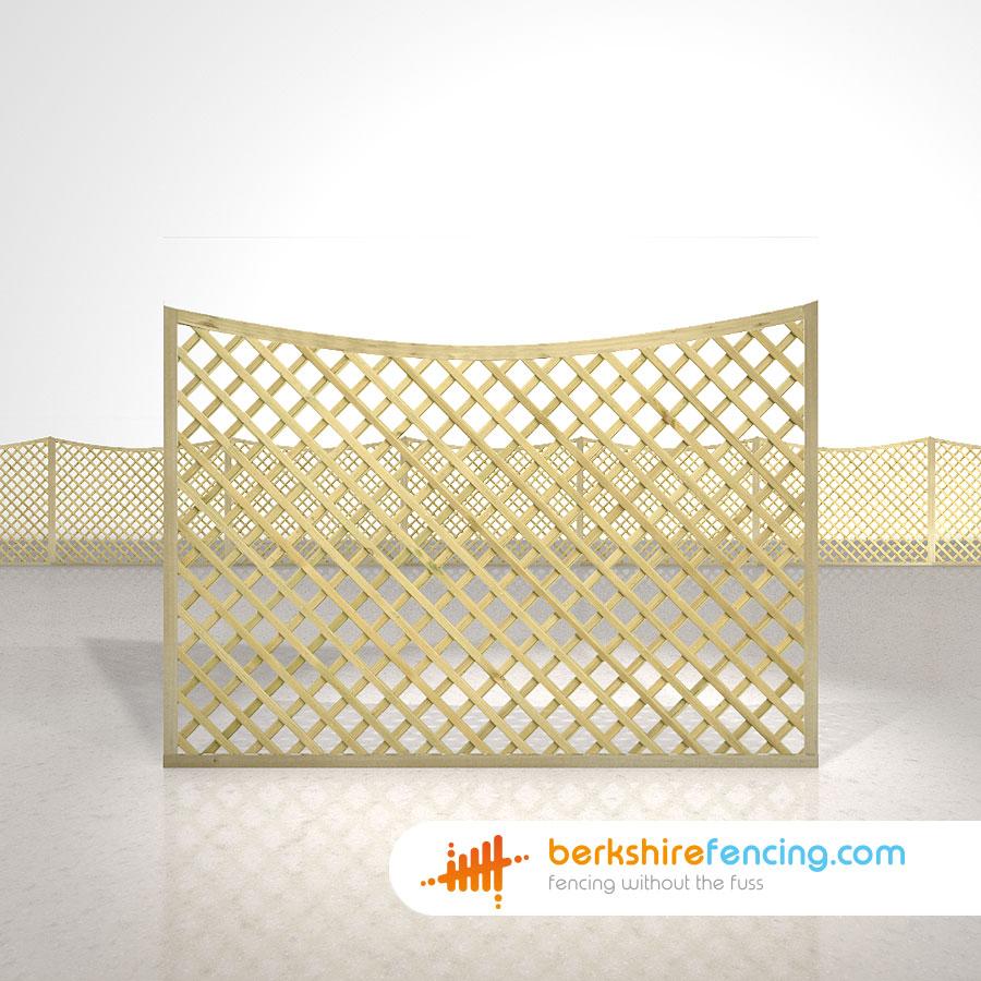 Concave Diamond Trellis Fence Panels 4ft X 6ft Natural