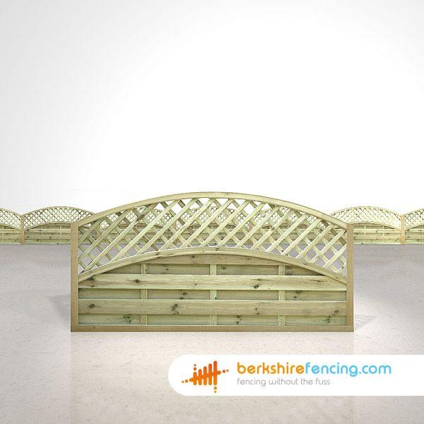 Designer Convex Arched Lattice Top Fence Panels 3ft x 6ft natural