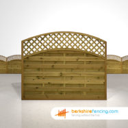 Designer Convex Arched Lattice Top Fence Panels 5ft x 6ft brown