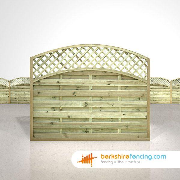 Designer Convex Arched Lattice Top Fence Panels 5ft x 6ft natural