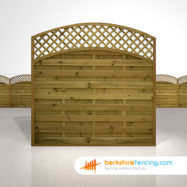Exclusive Convex Arched Lattice Top Fence Panels 6ft x 6ft brown