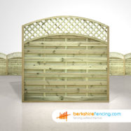 Garden Convex Arched Lattice Top Fence Panels 6ft x 6ft natural