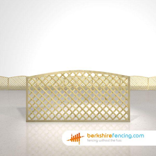 Designer Convex Diamond Trellis Fence Panels 3ft x 6ft natural