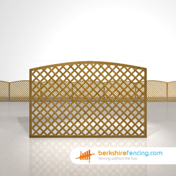 Designer Convex Diamond Trellis Fence Panels 4ft x 6ft brown
