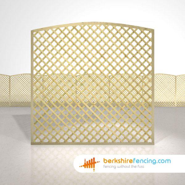 Designer Convex Diamond Trellis Fence Panels 6ft x 6ft natural