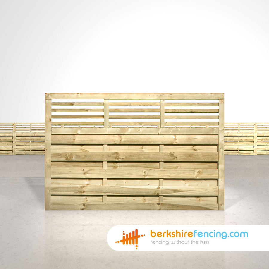 Elite Slatted Top Fence Panels 4ft x 6ft natural - Berkshire Fencing