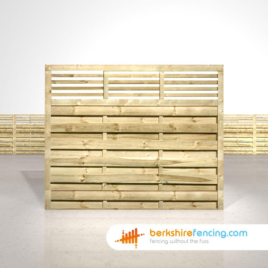 Elite Slatted Top Fence Panels 5ft x 6ft natural - Berkshire Fencing