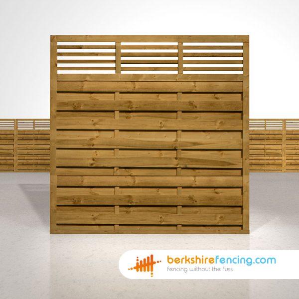 Designer Elite Slatted Top Fence Panels 6ft x 6ft brown