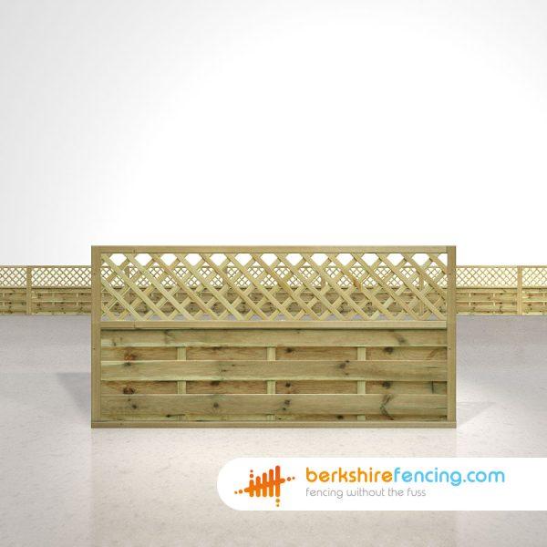 Designer Horizontal Lattice Top Fence Panels 3ft x 6ft natural