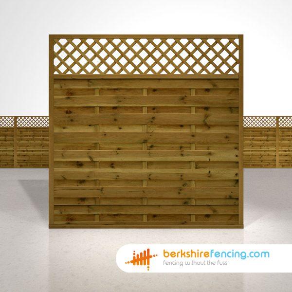 Exclusive Horizontal Lattice Top Fence Panels 6ft x 6ft brown