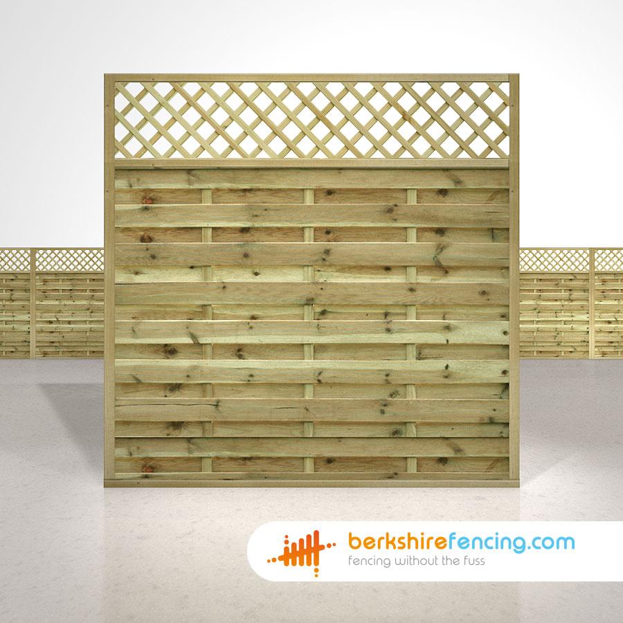 Horizontal Lattice Top Fence Panels 6ft X 6ft Natural