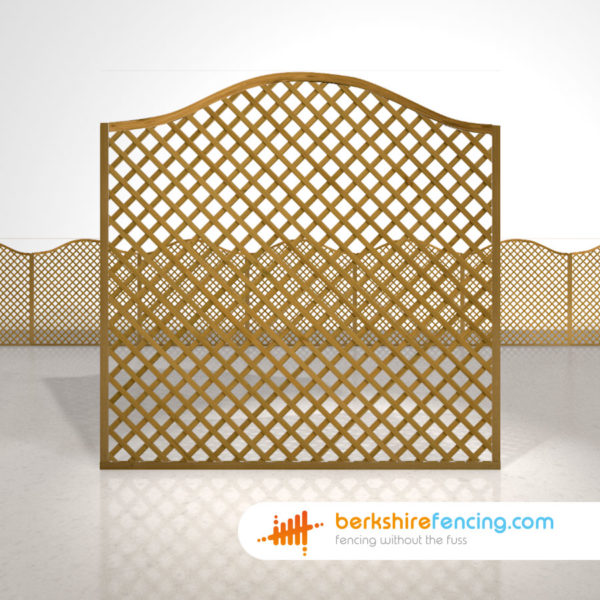 Designer Omega Diamond Trellis Fence Panels 6ft x 6ft brown