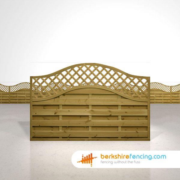 Designer Omega Lattice Top Fence Panels 4ft x 6ft brown