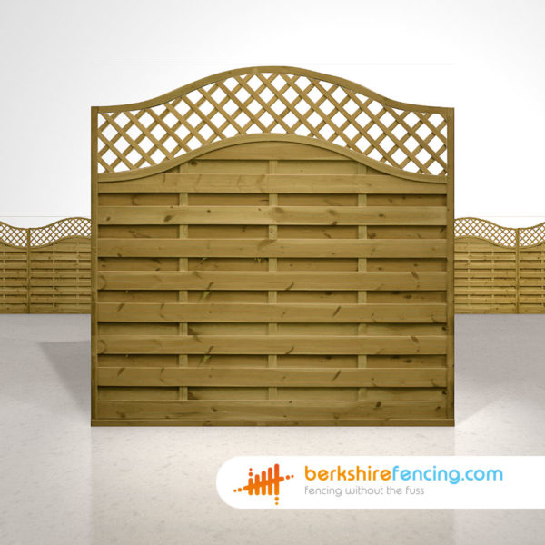 Exclusive Omega Lattice Top Fence Panels 6ft x 6ft brown