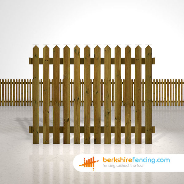 Designer pointed picket fence panels 5ft x 6ft brown