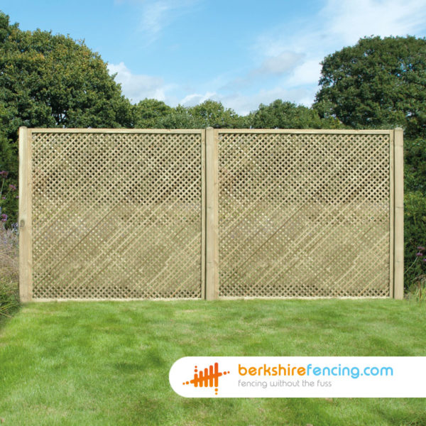 1' H x 6' W Rectangle Diamond Privacy Trellis Fence Panel Constructed in FSC Timber for a customer in Eton