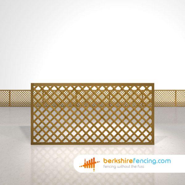 Designer Rectangle Diamond Trellis Fence Panels 3ft x 6ft brown