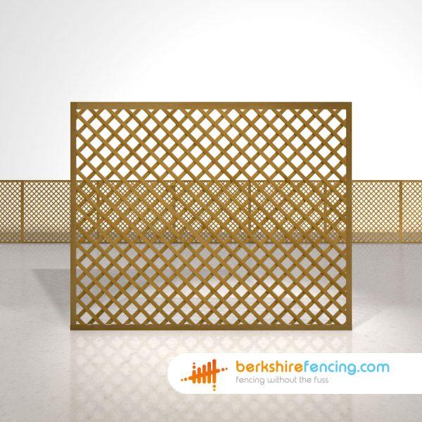 Exclusive Rectangle Diamond Trellis Fence Panels 5ft x 6ft brown