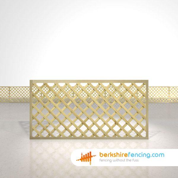 Garden Rectangle Heavy Diamond Trellis Fence Panels 3ft x 6ft natural