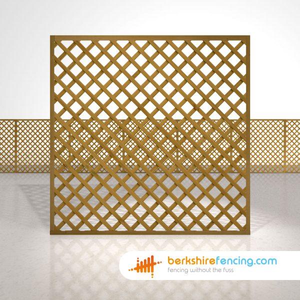 Rectangle Heavy Diamond Trellis Fence Panels 6ft x 6ft brown