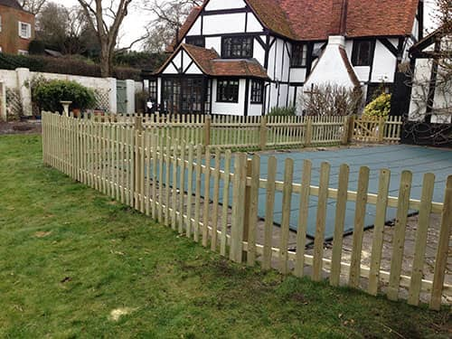 rounded picket fence panel (5) 60cm H x 180cm W brown