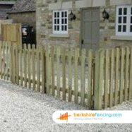 rounded picket fence panel (1) 60cm H x 180cm W brown