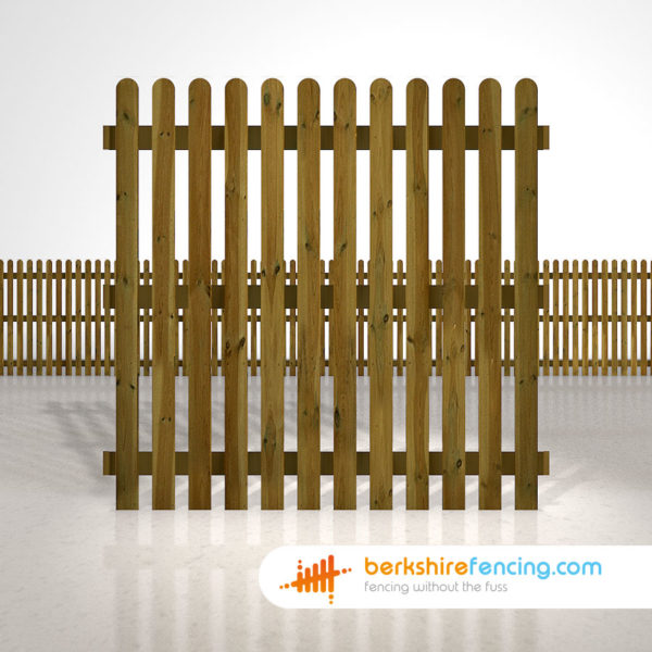 Exclusive rounded picket fence panels 6ft x 6ft brown