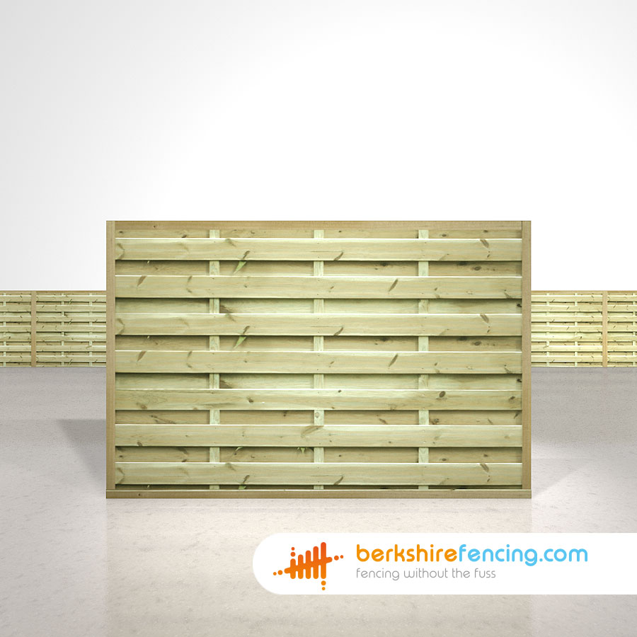 Square Horizontal Fence Panels 4ft x 6ft natural - Berkshire Fencing