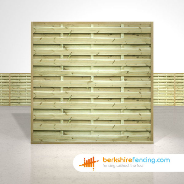 Square Horizontal Fence Panels 6ft x 6ft natural