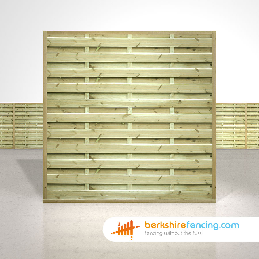 Square horizontal fence panels 6ft x 6ft natural