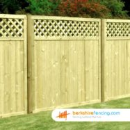 Tongue and Groove Lattice Top Fence Panel (4) 90cm H x 180cm W brown
