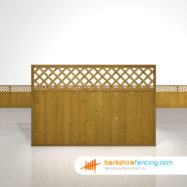 Designer Tongue and Groove Lattice Top Fence Panels 4ft x 6ft brown