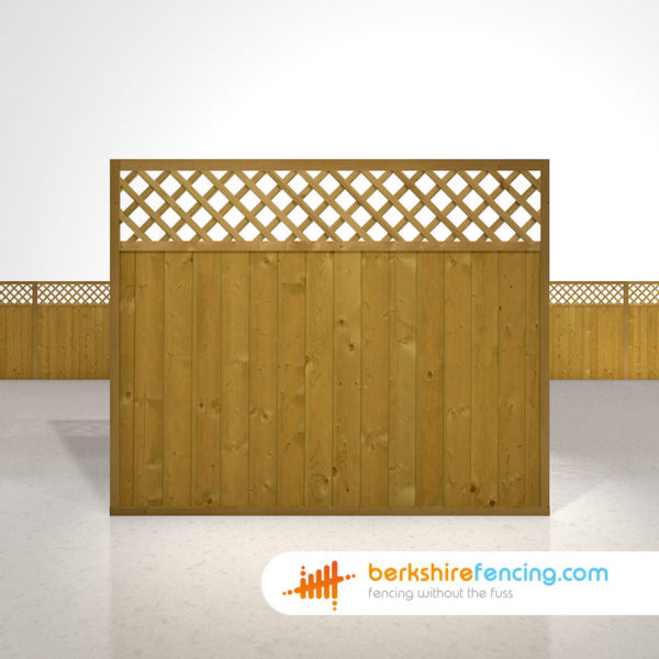 Tongue and Groove Lattice Top Fence Panels 5ft x 6ft brown