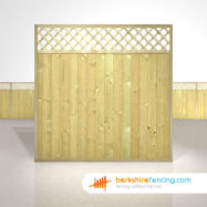 Designer Tongue and Groove Lattice Top Fence Panels 6ft x 6ft natural