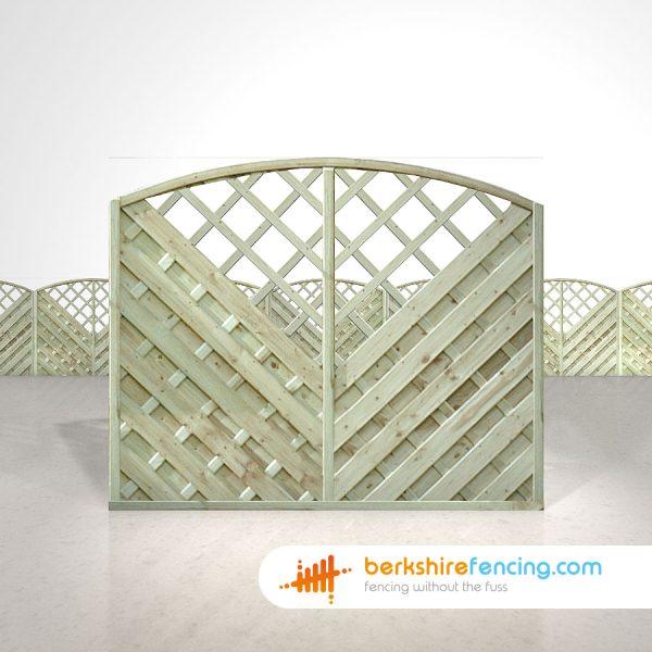 V Arched Window Top Fence Panels 5ft x 6ft natural