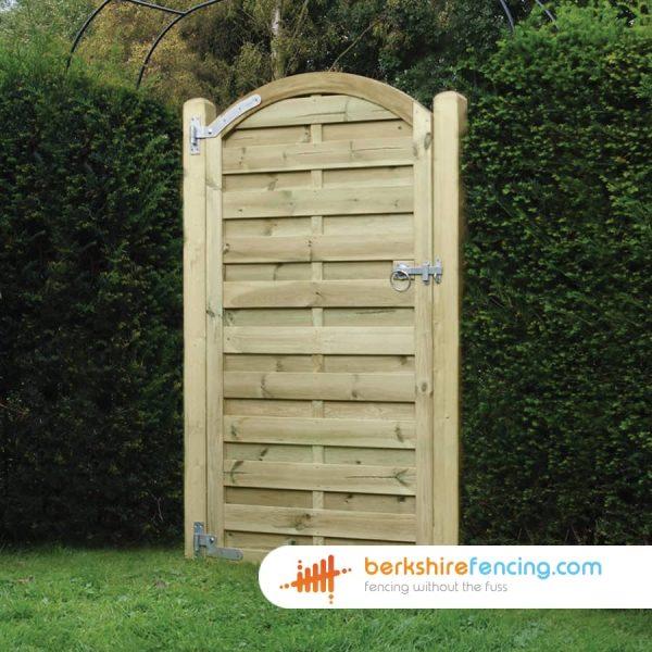 brown Arched Top Horizontal Panelled Gates 180cm x 90cm x 2cm