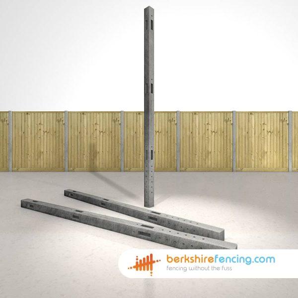 Concrete Morticed Corner Fence Posts 270cm x 10cm x 10cm Grey