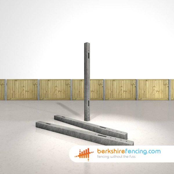 Designer Concrete Morticed Intermediate Fence Posts 100mm x 100mm x 1800mm Grey