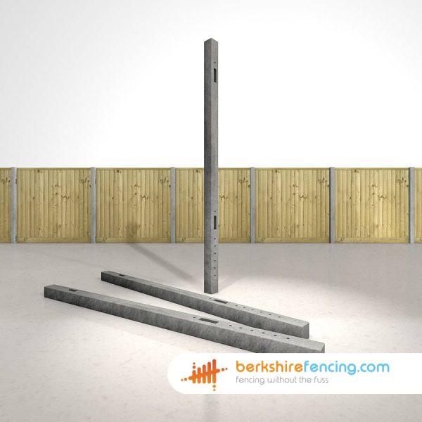 Garden Concrete Morticed Intermediate Fence Posts 100mm x 100mm x 2400mm Grey