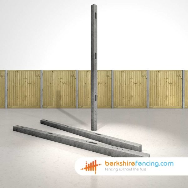 Garden Concrete Morticed Intermediate Fence Posts 100mm x 100mm x 2700mm Grey