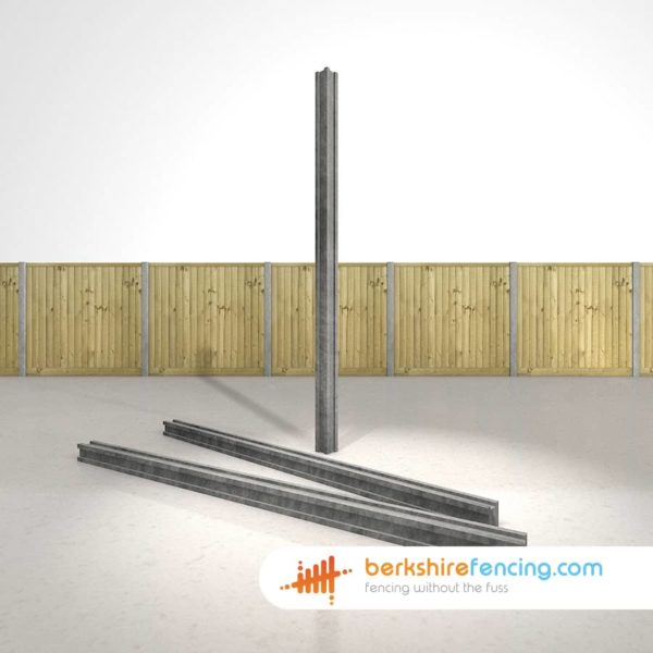 Concrete Slotted Corner Fence Posts 210cm x 10cm x 10cm Grey